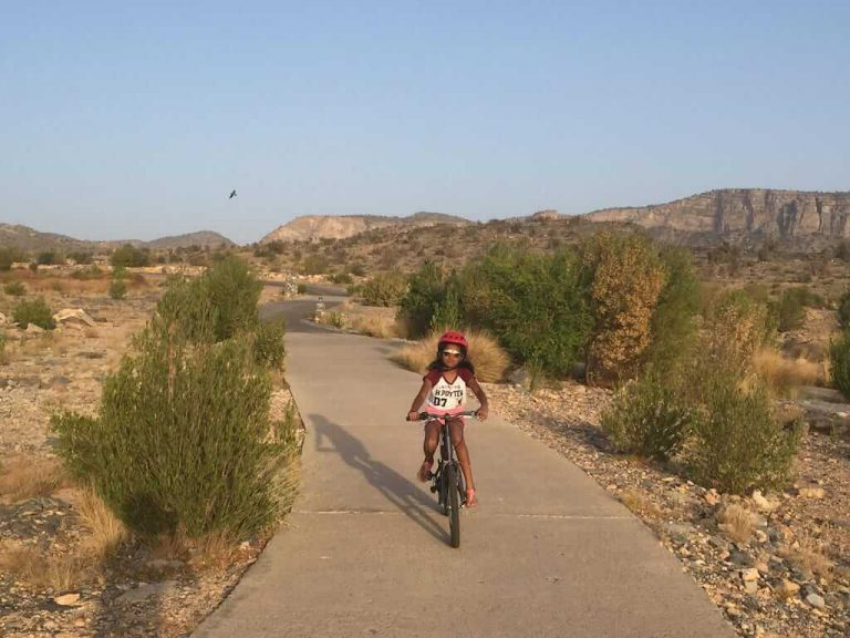 Divya cycling at Alila Jabal Akhdar _ Family Holiday to Oman