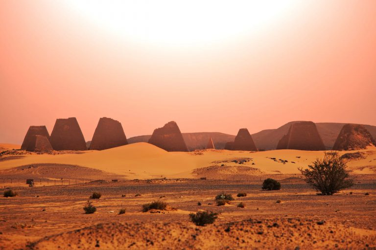 Sunrise over the Pyramids of Meroe, Sudan