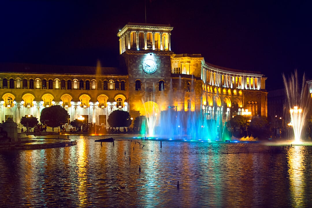 Republic Square at night in Yerevan - One of the best places to visit in Armenia