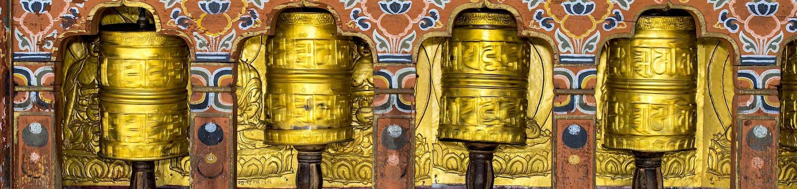 See Buddhist prayer wheels on a on a tailor-made holiday to Bhutan