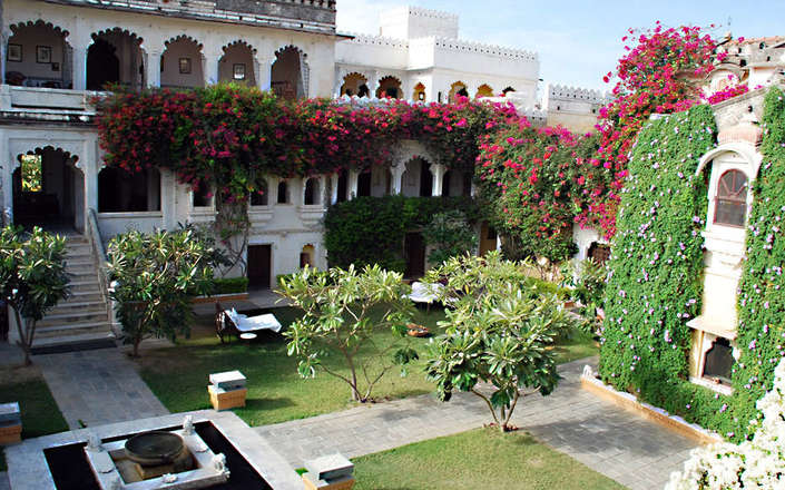 In Rajasthan stay at Rawla Narlai, a 17th century hunting lodge, converted into a boutique hotel