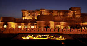Stay at Suryagarh, a fort-like-hoteljust outside Jaisalmer in Rajasthan