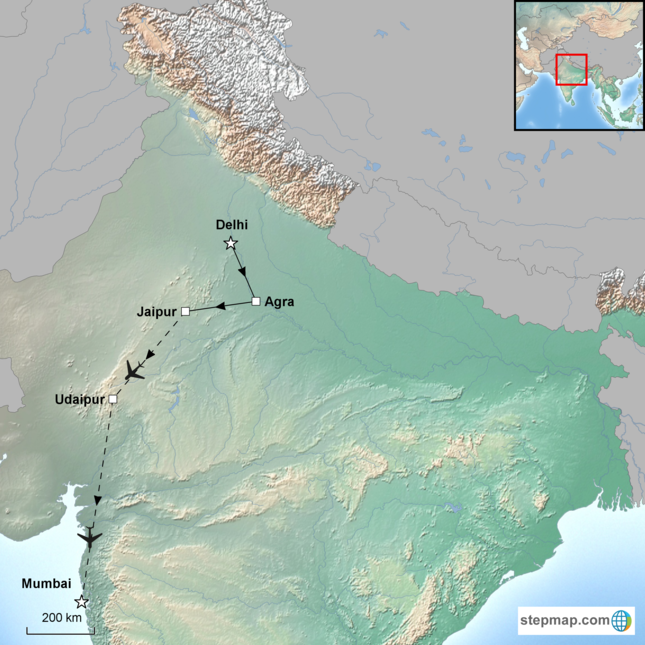 stepmap-karte-india-classic-north-india-holiday-1639030