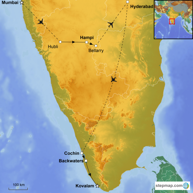 stepmap-karte-luxury_south_india-1799161