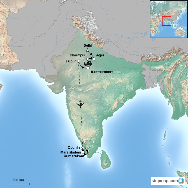 stepmap-karte-north-south-india-16532901